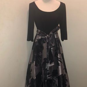 R&M Richards 3/4 Sleeve High Low Evening Gown